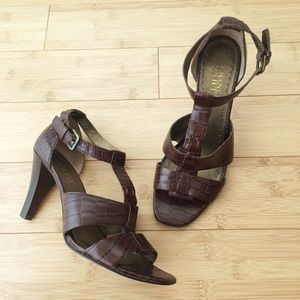 Franco Sarto Leather Crocodile Print Sandals